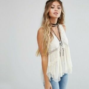 Free People On The Town Floral Lace Sheer Top S